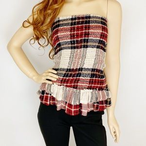 🛍Sage The Label Plaid Strapless Ruffled Tube Top